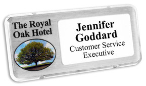 Reusable plastic name badges - Clear border and brushed silver background | www.namebadgesinternational.ae